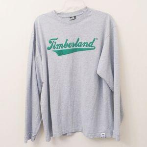 Mens Timberland Green Gray Long Sleeve Logo Shirt